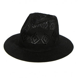 Woven diamond pattern fedora Hat